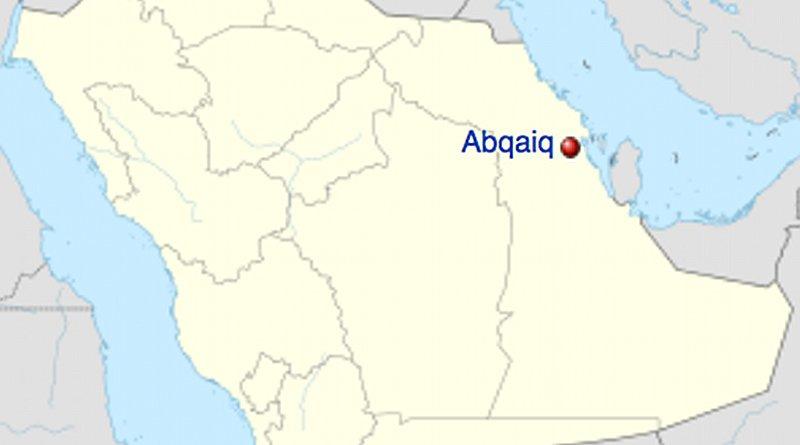 Location of Abqaiq in Saudi Arabia. Credit: Wikipedia Commons