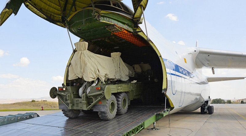 Russian S-400 defense system are unloaded from a Russian plane at Murted Airport near Ankara. Photo Credit: Turkish Defense Mininistry