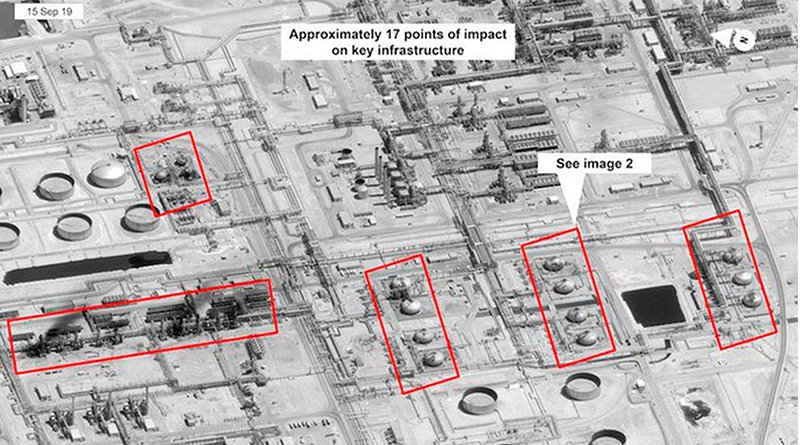 A satellite image of Saudi Aramco infrastructure at Abqaiq. (Handout of US Government/DigitalGlobe
