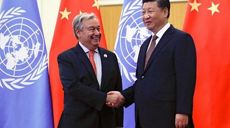 UN Secretary-General Guterres shakes hands with Chinese President XI. Source: UN Watch.
