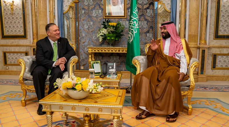 U.S. Secretary of State Michael R. Pompeo meets with Saudi Crown Prince Mohammed bin Salman in Jeddah, Saudi Arabia on September 18, 2019. [State Department photo by Ron Przysucha/ Public Domain]