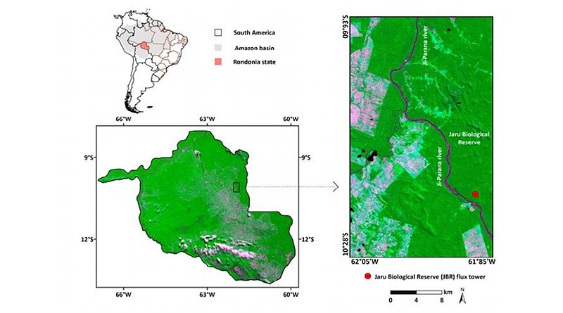 This map shows the study area and location of the flux tower used in this study. Credit de Oliveira et al