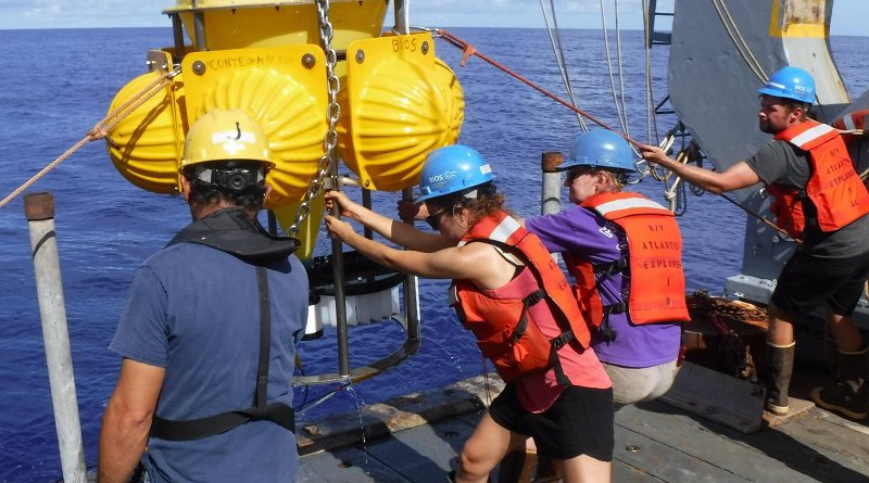 At center, scientists Rut Pedrosa Pàmies (of MBL) and Maureen Conte (of MBL and BIOS) and crew of the R/V Atlantic Explorer recover a deep ocean sediment trap on the Oceanic Flux Program mooring in the Sargasso Sea. Credit J.C. Weber