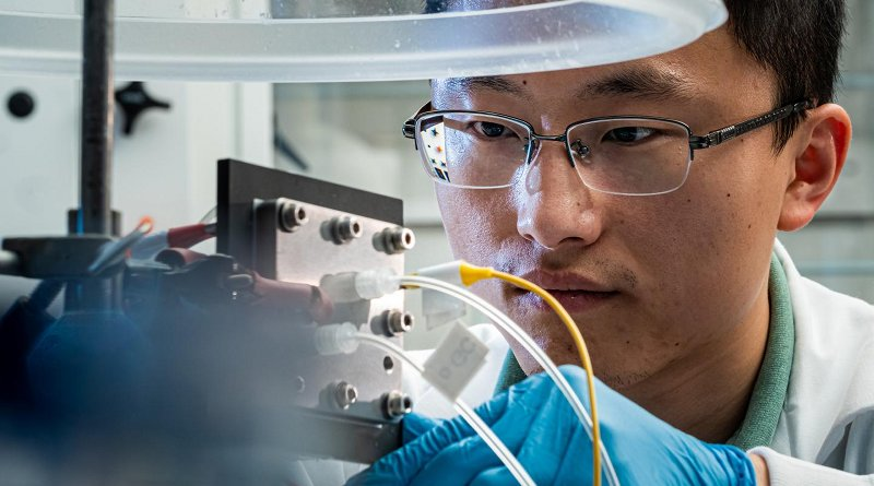 Rice University engineer Haotian Wang adjusts the electrocatalysis reactor built in his lab to recycle carbon dioxide to produce liquid fuel. The reactor is designed to be an efficient and profitable way to reuse the greenhouse gas and keep it out of the atmosphere. Credit Jeff Fitlow/Rice University