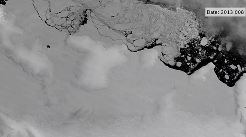 Satellite images show polynyas (open-water regions) forming at the ends of basal channels beneath shear margins of the East Getz Ice Shelf. A new study in Science Advances illuminates how warm ocean water and ice dynamics conspire to weaken the edges of Antarctica's ice shelves, making them more vulnerable to breakup Credit Karen Alley/The College of Wooster and NASA MODIS/MODIS Antarctic Ice Shelf Image Archive at the National Snow and Ice Data Center, CU Boulder.