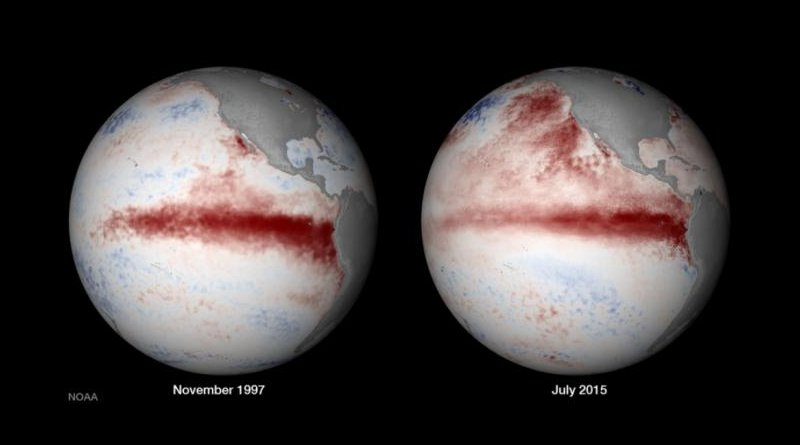 On the right, satellite composition of El Nino in 1997, and on the left, El Nino in 2015. Both were extreme El Nino events that new hard evidence says are part of a new and odd climate pattern. CREDIT NOAA