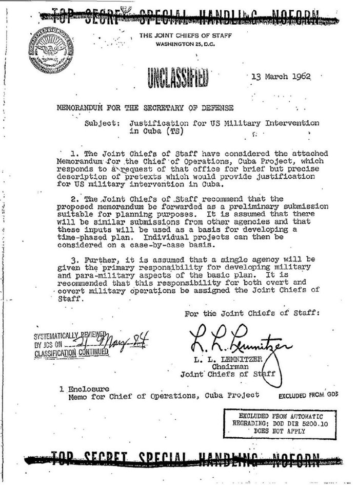 Operation Northwoods – The Cuba Project