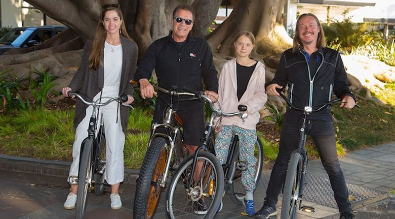 Greta Thunberg with Arnod Schwarzenegger. Source: @Schwarzenegger