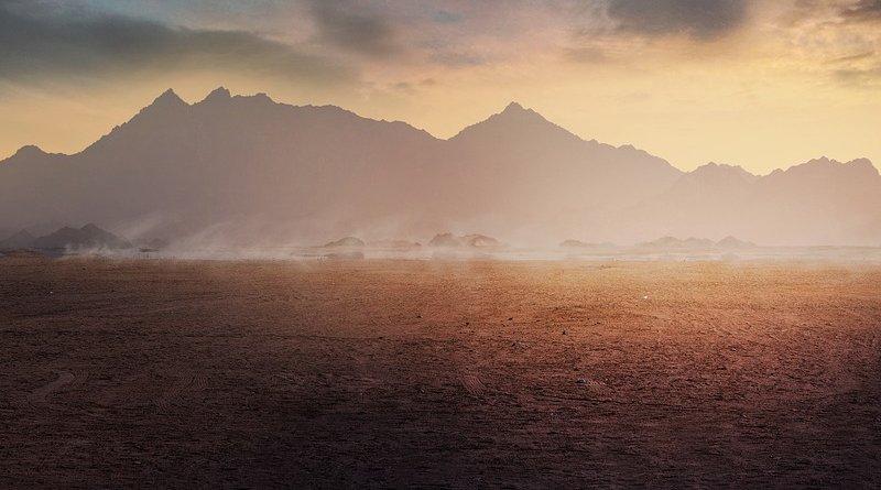 fog desert mountains