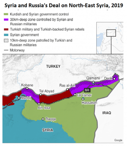 Russia in charge: After US forces withdrew, Syria and Turkey moved to control the border region, displacing Kurds (Source: BBC and Russian Defense Ministry)