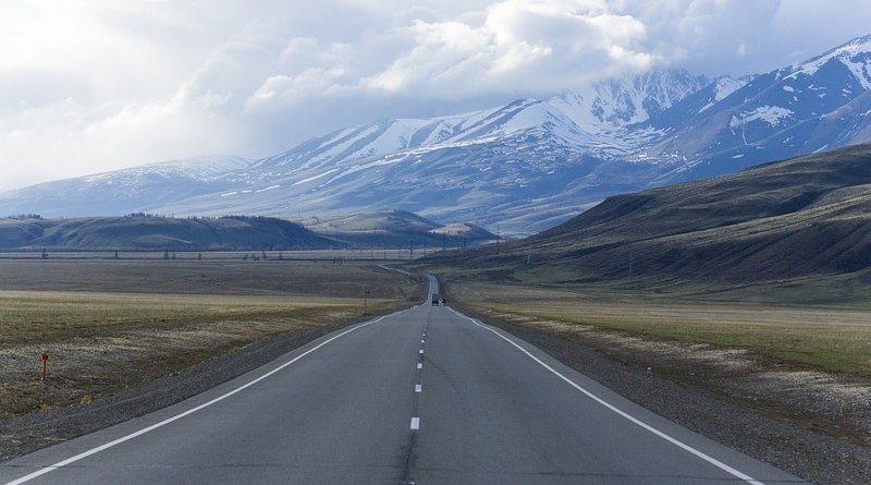 Highway near Mountain Altai, Russia