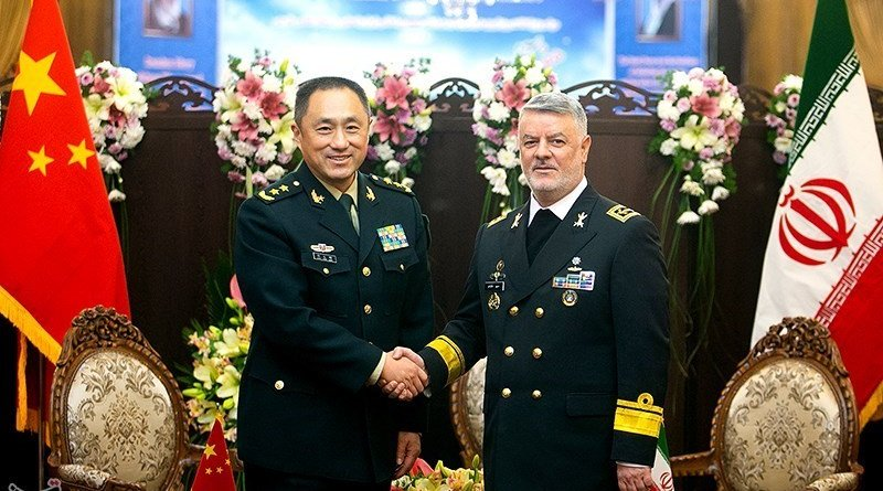 Iran's Rear Admiral Hossein Khanzadi with Deputy Chief of the Joint Staff Department of China's Central Military Commission Major General Shao Yuanming. Photo Credit: Tasnim News Agency