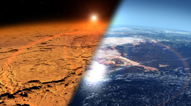Conceptual image depicting the early Martian environment (right) -- believed to contain liquid water and a thicker atmosphere -- versus the cold, dry environment seen at Mars today (left). CREDIT NASA's Goddard Space Flight Center