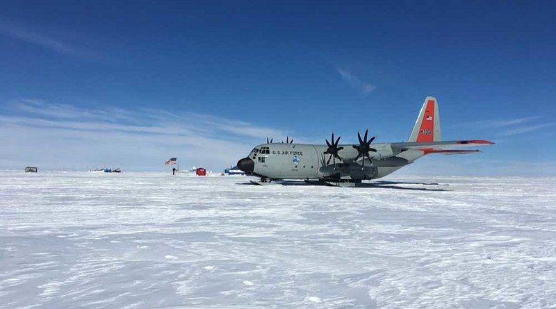 An LC-130 Hercules aircraft sits on an Arctic region skiway that was created by airmen from the 109th Airlift Wing. Photo Credit: US Air Force