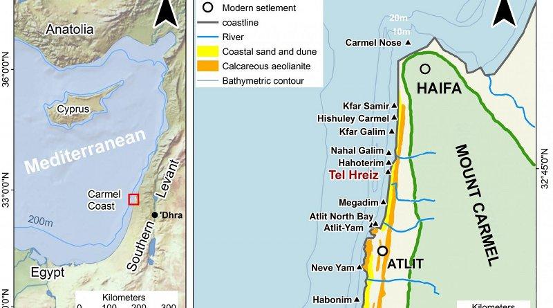 Eastern Mediterranean and the Israeli coast: Submerged Neolithic settlements off the Carmel coast 2019. CREDIT John McCarthy after Galili et al.