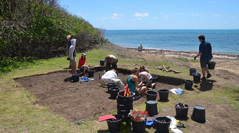 Students from the University of Oregon, North Carolina State University and University College London work at a Grand Bay cultural site on Carriacou Island, located in the Grenada Grenadines in the Lesser Antilles. A reexamination of radiocarbon dating from multiple islands of the Caribbean concludes that settlement by South American populations started to the north in the Greater Antilles rather in than in a step-by-step northward migration CREDIT Photo by Scott Fitzpatrick