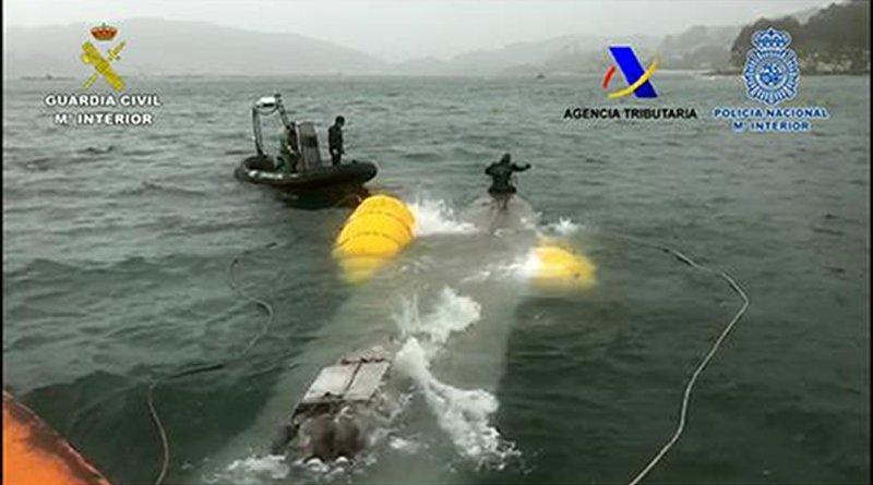 Captured drug smuggling submarine. Photo Credit: Spain's Ministerio de Hacienda