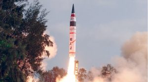 First test flight of Agni-V on April 19, 2012, from Integrated Test Range, Wheeler Island, Orissa (Courtesy Ministry of Defence, Government of India)