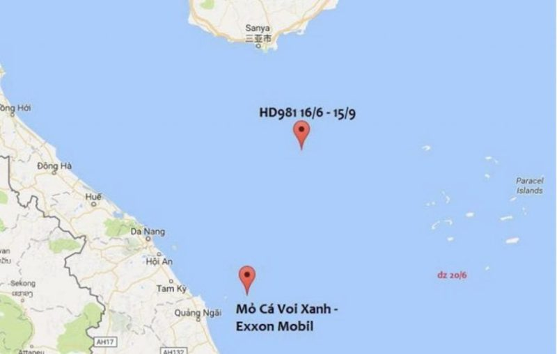 Oil rush: In 2011, PetroVietnam discovered a large natural gas field offshore, Ca Voi Xanh or Blue Whale, with enough to power Hanoi for two decades; by 2014, China placed an oil rig HD981 nearby (Source: Twitter and ExxonMobil)