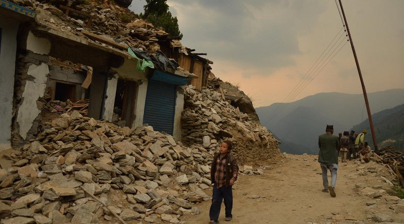 The ruins of Nepal's Gorkha district after the 2015 earthquake that killed nearly 9,000 people and injured 22,000. CREDIT: EU/ECHO/Pierre Prakash