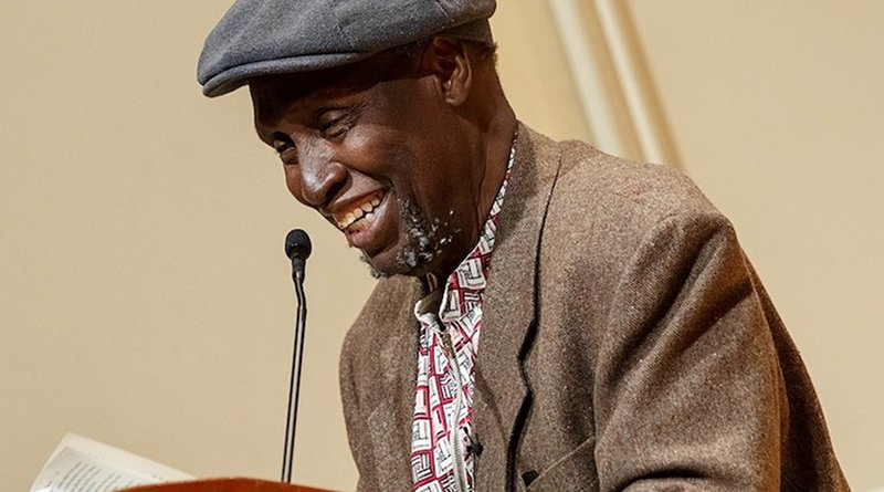 Renowned Kenyan writer Ngũgĩ wa Thiong'o reads excerpts from his recent work in both Gikuyu and English during a presentation in the Coolidge Auditorium, May 9, 2019. Photo by Shawn Miller/Library of Congress.