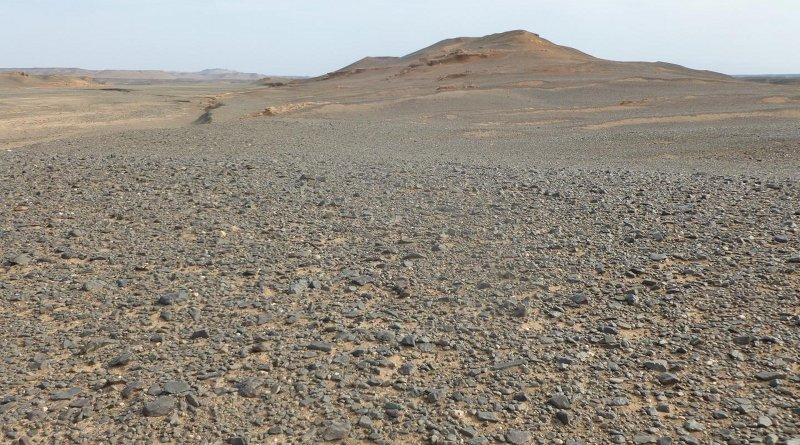 A new study finds that the dark, rocky landscape of the Hami basin in the Gobi Desert helped to make it one of the windiest places in China. CREDIT Alex Pullen and Paul Kapp