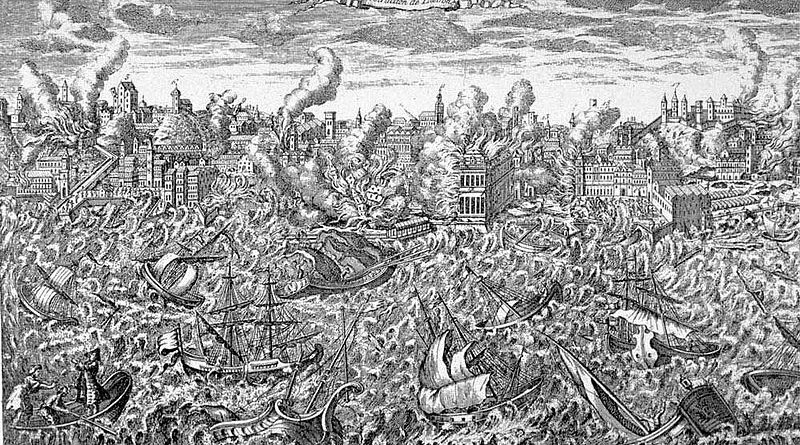 1755 copper engraving showing Lisbon in flames and a tsunami overwhelming the ships in the harbor. Credit: Wikipedia Commons