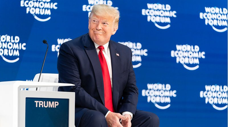 President Donald J. Trump delivers the opening remarks at the 50th Annual World Economic Forum meeting Tuesday, Jan. 21, 2020, at the Davos Congress Centre in Davos, Switzerland. (Official White House Photo by Shealah Craighead)