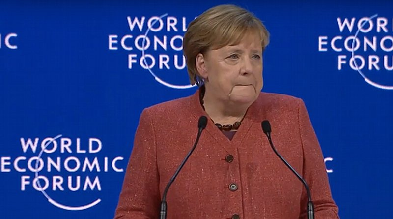 Germany's Chancellor Angela Merkel speaks at World Economic Forum in Davos. Photo Credit: WEF video screenshot