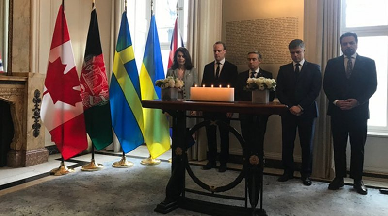 Foreign ministers from Canada, Ukraine, Sweden, Afghanistan and the UK pay their respects to those who died when Iran shot down a Ukrainian airliner. (AN Photo/Zaynab Khojji)