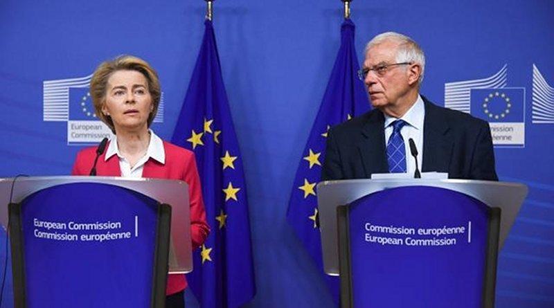 Press conference by EC Presidente Ursula von der Leyen and HRVP Josep Borrell Fontelles, following the special College meeting (8/1/2020). Photo: Jennifer Jacquemart / ©European Union, 2020. EC – Audiovisual Service
