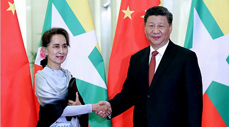 File photo of China's President Xi Jinping with State Counselor Aung San Suu Kyi of Myanmar. Photo Credit: China's Ministry of Foreign Affairs