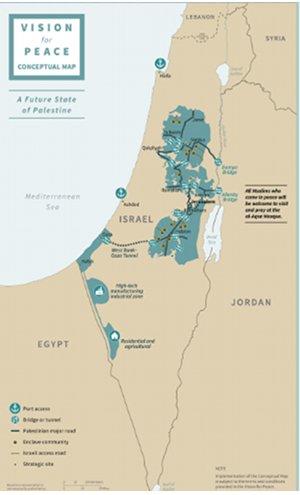 Figure 2. Conceptual Map of Future Palestinian State. Source: U.S. peace plan, January 2020.
