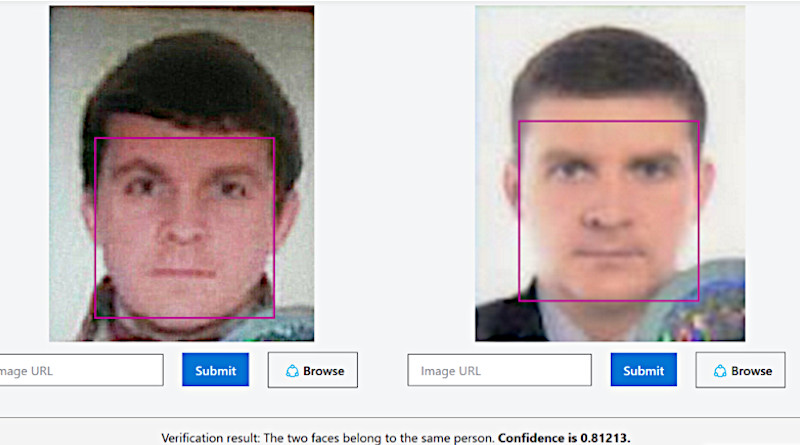 """According to Bellingcat, face-matching technology seems to show that """"Georgy Gorshkov"""" is Yegor Gordienko, an officer linked to the Salisbury attack. Photo Credit: Bellingcat"""