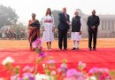 President Donald J. Trump shakes hands with Indian Prime Minister Narendra Modi during a welcome ceremony at Rashtrapati Bhavan, the Presidential Palace Tuesday, Feb. 25, 2020, in New Delhi, India. From left, Mrs. Savita Kovind, the wife of the Indian President Ram Nath Kovind, First Lady Melania Trump, and Indian President Ram Nath Kovind. (Official White House Photo by Shealah Craighead)