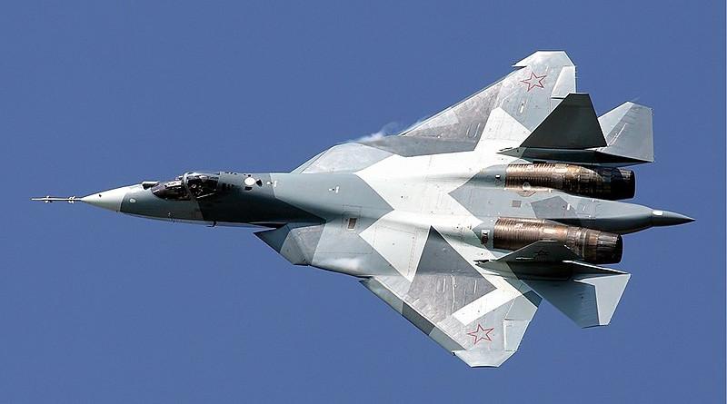 A prototype of Russia's Sukhoi-57 (Su-57) fighter jet in flight. Photo Credit: Maxim Maksimov, Wikipedia Commons