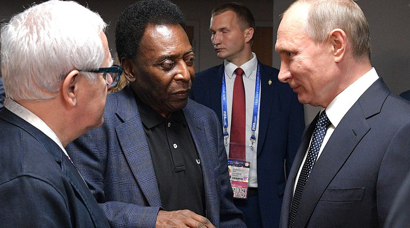 After the 2017 Confederations Cup opening match, Vladimir Putin with the legendary Brazilian footballer Pele. Photo Credit: Kremlin.ru