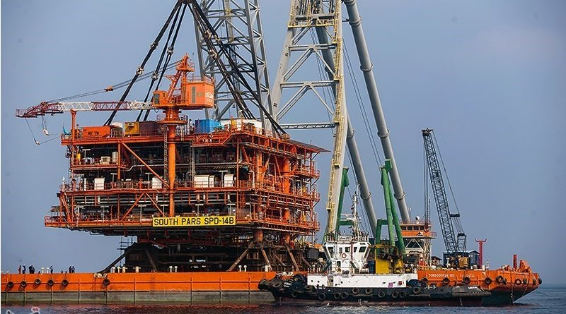 Oil platform in Phase 14 of Iran's giant South Pars gas field. Photo Credit: Tasnim News Agency