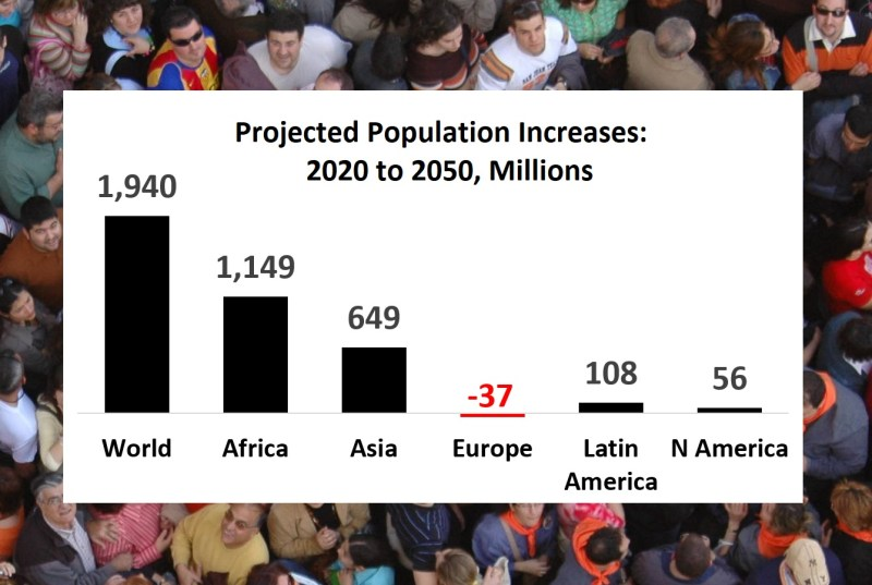 Regional differences: Asia and Africa lead in population rises through 2050 (Source: UN Population Review)