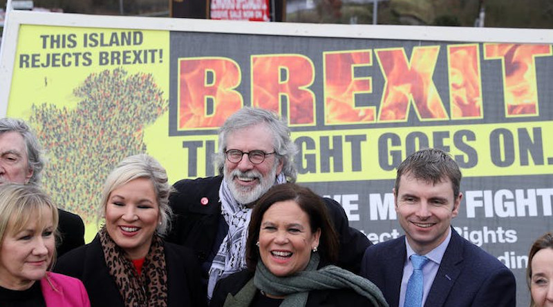 Sinn Féin leader Mary Lou McDonald (centre) with former leader Gerry Adams on the Irish border. Credit: Brian Lawless/PA Wire