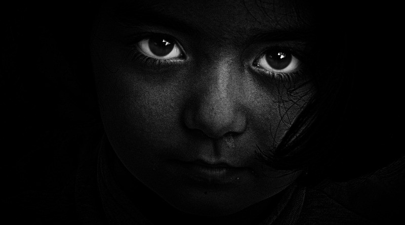 Black And White Person Dark Girl Eyes Hidden secret