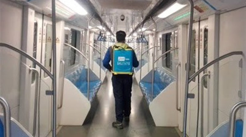 Disinfecting public transportation in Iran. Photo Credit: Tasnim News Agency