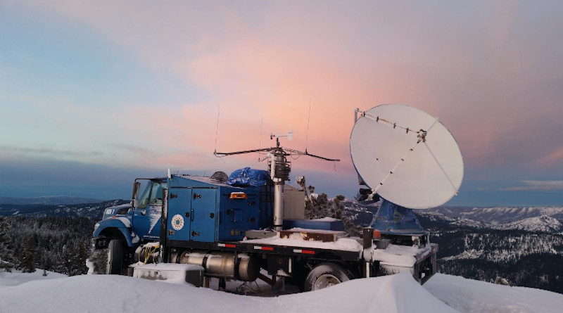 The Seeded and Natural Orographic Wintertime Clouds: The Idaho Experiment (SNOWIE) project radar dish parked on a mountaintop in western Idaho. CREDIT Joshua Aikins
