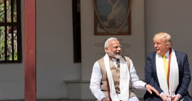 President Donald J. Trump joins Indian Prime Minister Narendra Modi in conversation during their visit to the home of Mohandas Gandhi Monday, Feb. 24, 2020, in Ahmedabad, India. (Official White House Photo by Shealah Craighead)