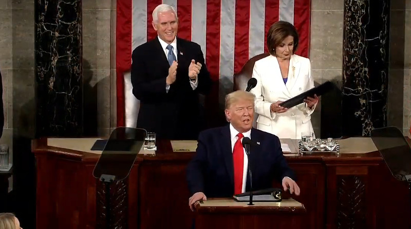 US President Donald Trump delivers 2020 State of the Union speech. Photo Credit: White House video screenshot