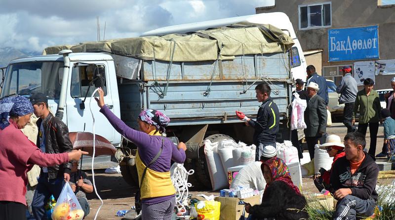 Central Asia Kyrgyzstan Market Village Truck