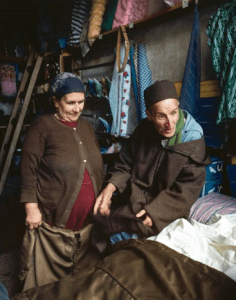Jewish cloth merchant and his wife in the Mellah of Sefrou in 1980