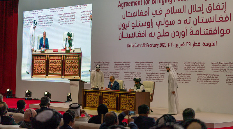 Signing ceremony of Afghan Peace Deal in Doha, Qatar, on February 29, 2020. State Department photo by Ron Przysucha/ Public Domain