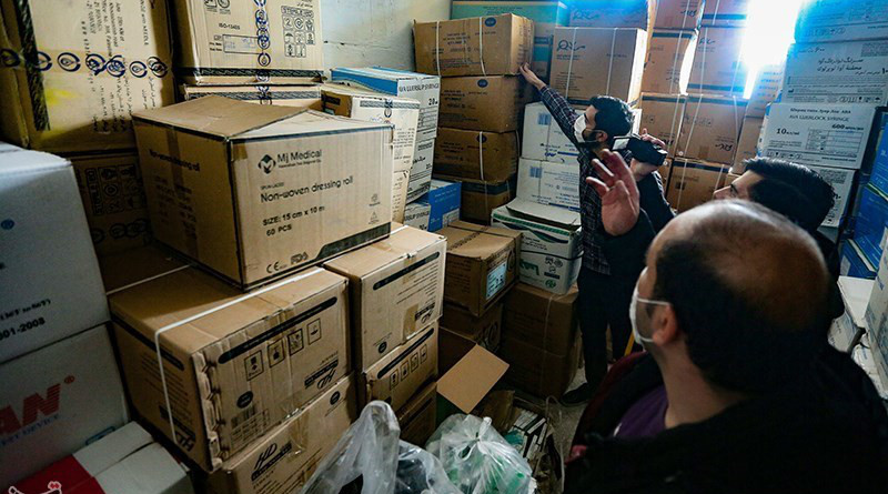 Iran's Islamic Revolution Guards Corps (IRGC) Intelligence Organization confiscate several stockpiles of medical equipment stored by hoarders. Photo Credit: Tasnim News Agency