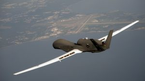 A file photo dated June 25, 2010 of an RQ-4 Global Hawk unmanned surveillance and reconnaissance aircraft flying over Patuxent River, Md. (U.S. Air Force photo/Released)